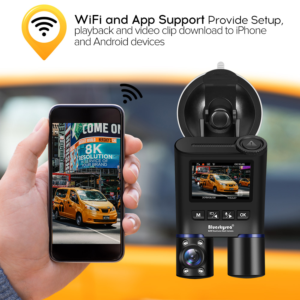 Blueskysea B2W Dash Camera Car Dvr Full HD 1080P WiFi Cam Rotate Parking Mode Dashboard Recorder for Uber Lyft Taxi Bus