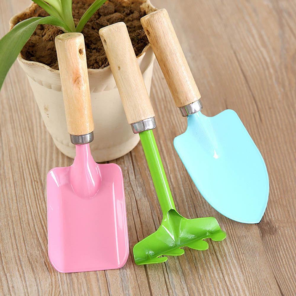 3Pcs Mini Home Garden Tools Children Gardening Kit Beach Sand Shovels Toys