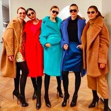 100% معطف صوف المرأة الشتاء تيدي معطف الفرو الحقيقي الإناث السترات الطويلة الفاخرة العلامة التجارية معاطف السيدات الدافئة سميكة ملابس خارجية كبيرة الحجم