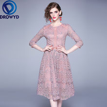 Кружевное платье миди для женщин Осеннее корейское повседневное