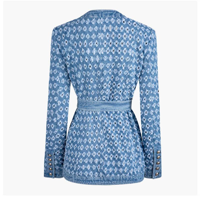 Twotwinstyle streetwear oco para fora denim jaquetas femininas o pescoço manga comprida bolso rendas até jaqueta feminina outono moda novo 2019
