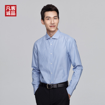 цена на 2020 New Vancl Slim Windsor Collar Business Formal Dress Shirt Long Sleeves Non-ironing Easy-Care Occupation Work Office