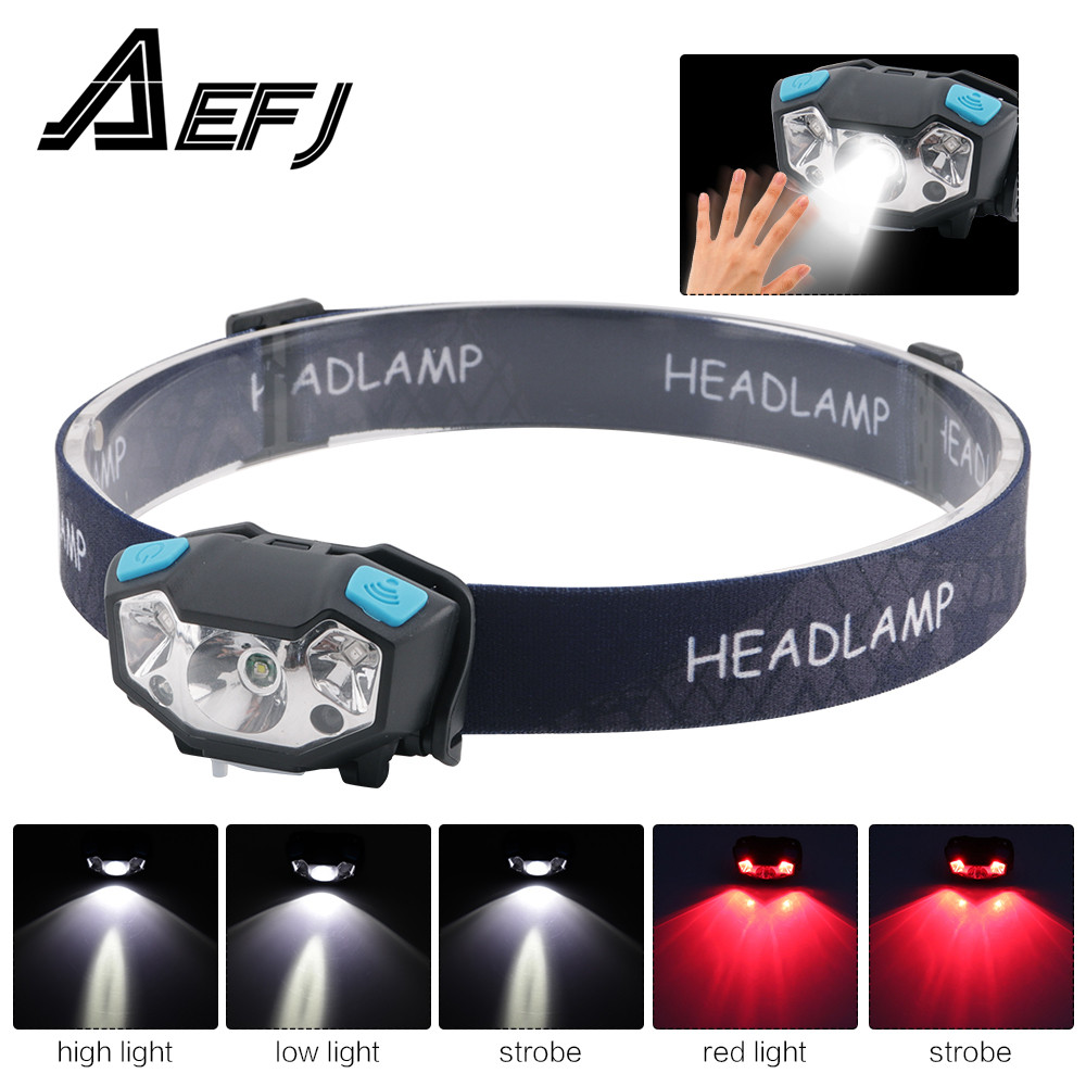 XPE LED Rechargeable Headlamp White Red Finger Induction Headlights Head Light Lamp Torche s Flashlight Built-in Battery