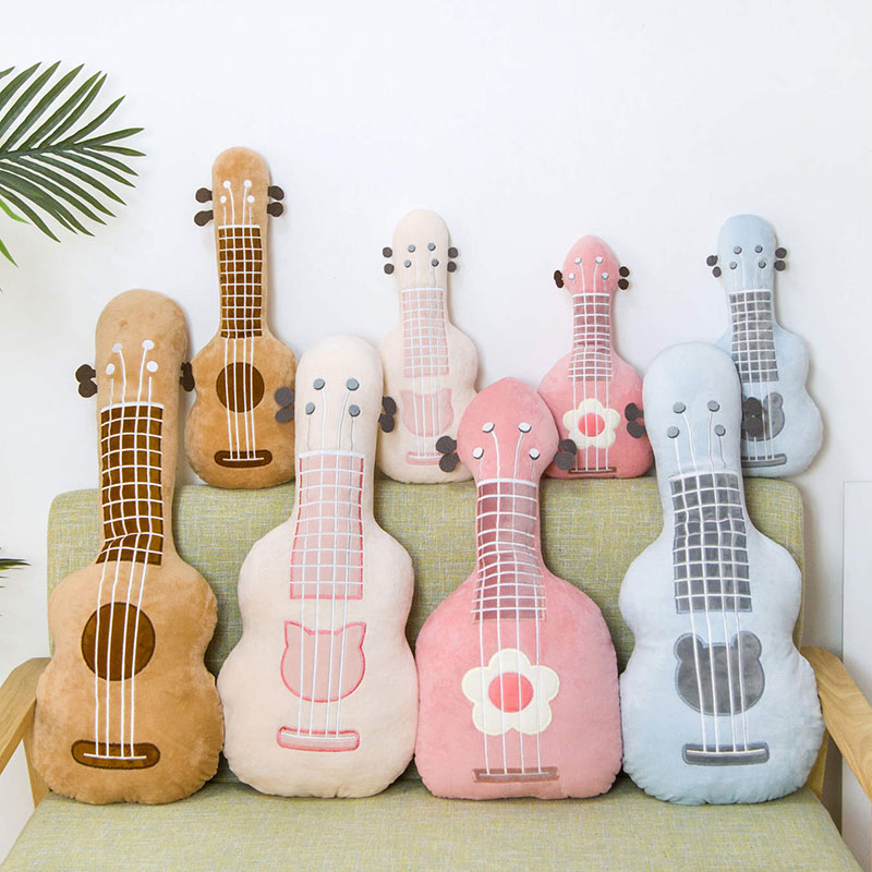 Guitar Pillow Stuffed Plush Musical Instrument Ukulele Toy Kids Toys Birthday Gift For Child