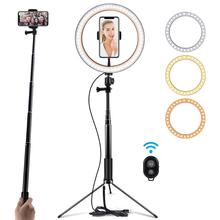 Photography Table LED Light Tripod Ring Lamp Youtube Video Live 3500-5500k Photo Studio Selfie Stick Makeup Light For Phone capsaver 2 in 1 kit led video light studio photo led panel photographic lighting with tripod bag battery 600 led 5500k cri 95