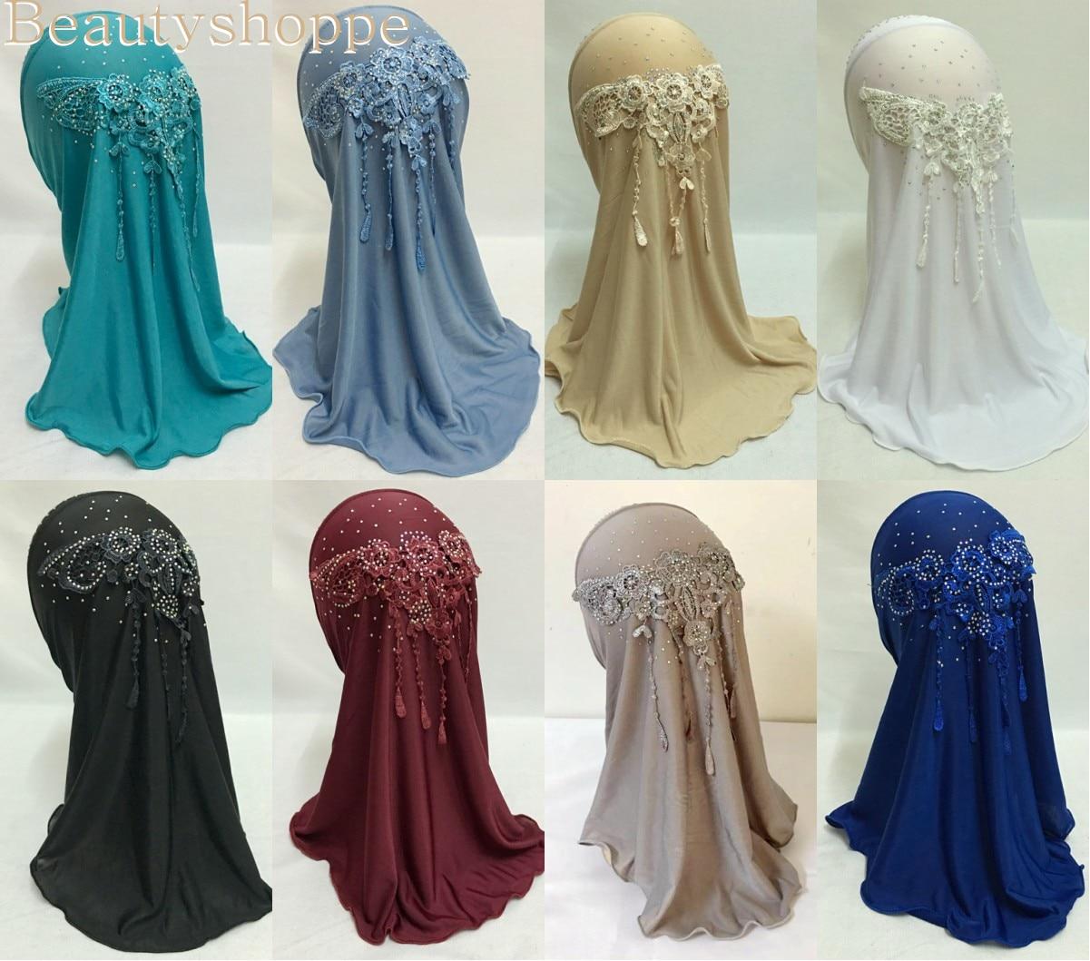 Красивые мусульманские кисточки для девочек, яркий хиджаб, исламский шарф, шали с красивой бусиной для девочек от 3 до 8 лет