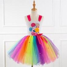 Маскарадный костюм ярких цветов радуги для девочек; Детский карнавальный костюм на Хэллоуин; вечерние костюмы