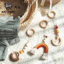 LetS Make anneau anneau de dentition en bois, 3 pièces/ensemble de tissage arc en ciel suspendu bébé, jouets pour enfants, jouets de gymnastique, Crochet, lune en hêtre