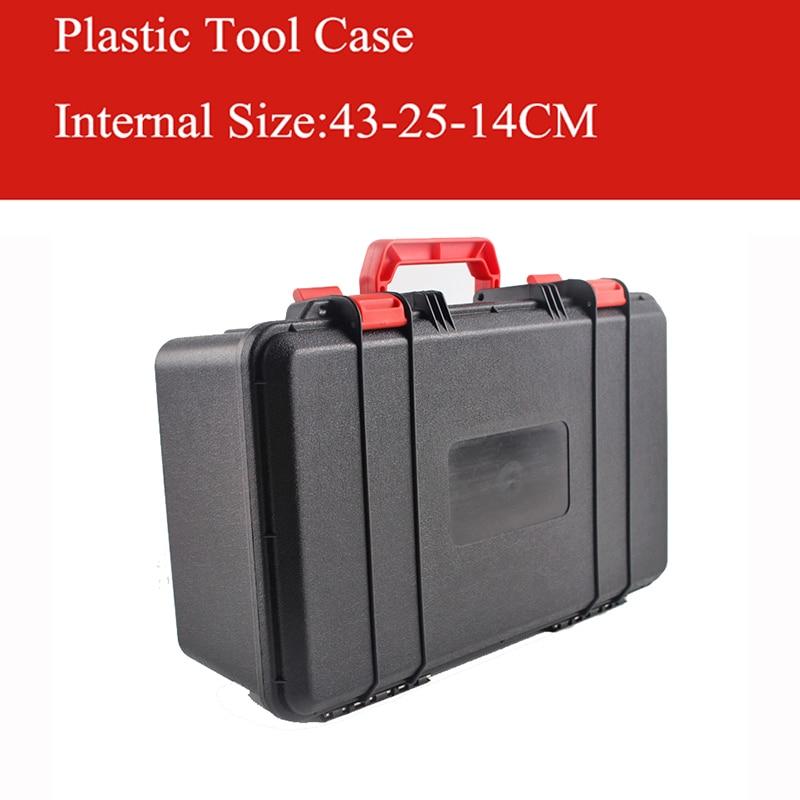 ABS Gereedschapskoffer gereedschapskist Slagvast verzegelde veiligheidskoffer apparatuur cameratas met voorgesneden schuim gratis verzending 430 x250x140mm