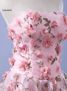 Image 4 - Lanxirui pembe çiçekler elbiseler uzun straplez sevgiliye vestido de formatura longo gece elbisesi parti cadılar bayramı