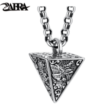 ZABRA 925 Sterling Silver Four God Beasts Pyramid Pendants Men Women Animal Punk Biker Father's Day Vintage Party Retro Jewelry
