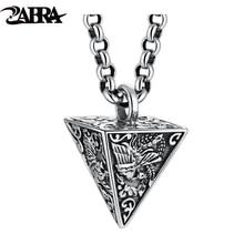 ZABRA 925 Sterling Silver Four God Beasts Pyramid Pendants Men Women Animal Punk Biker Father's Day Vintage Party Retro Jewelry