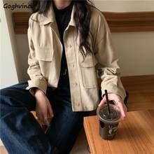 Vestes à col rabattu pour femmes, Style coréen Vintage, poches à simple boutonnage, Style Cargo, taille 2XL, nouvelle collection automne