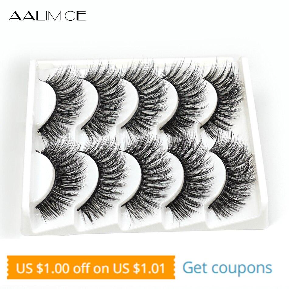 AALIMICE 5 Pairs 3d Mink Lashes Bulk False Eyelashes Natural/Thick Long Eye Lashes Wispy Makeup Beauty Extension Tools Free Ship