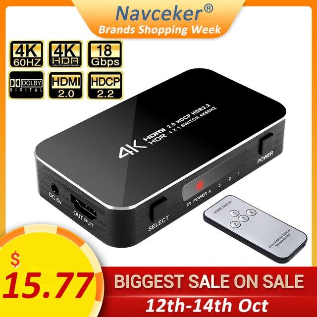 4 ports 18gbps HDR 4K Commutateur HDMI 4x1 Support HDCP 2.2 Mini HDMI 2.0 Commutateur HUB Boîte Avec Télécommande INFRAROUGE Pour Apple TV
