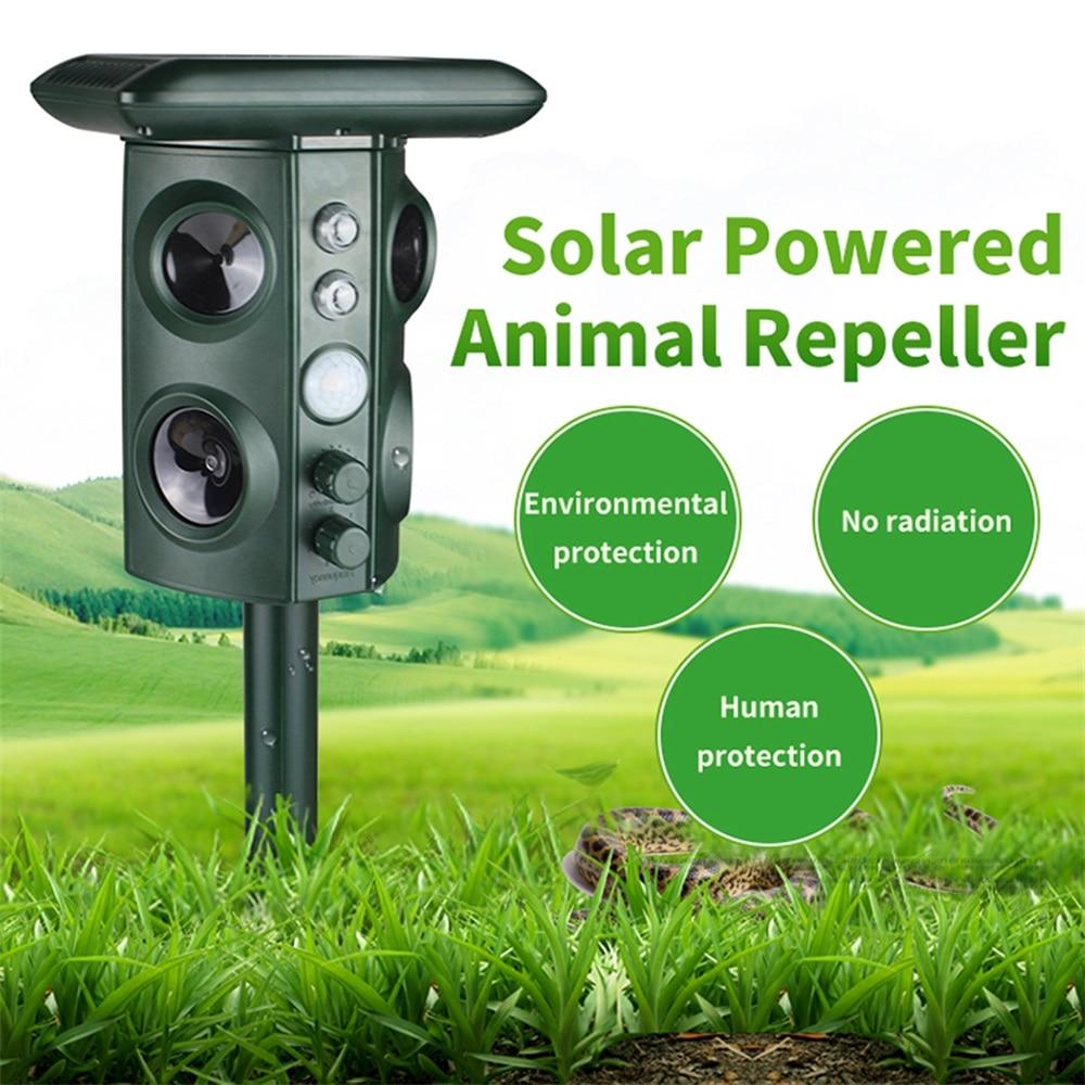 Hot Outdoor Ultrasonic Solar Pest Repeller Animal Pest Mouse Repeller PIR Sensor Garden Manor Farm Bird Cat Dog Fox Repellent