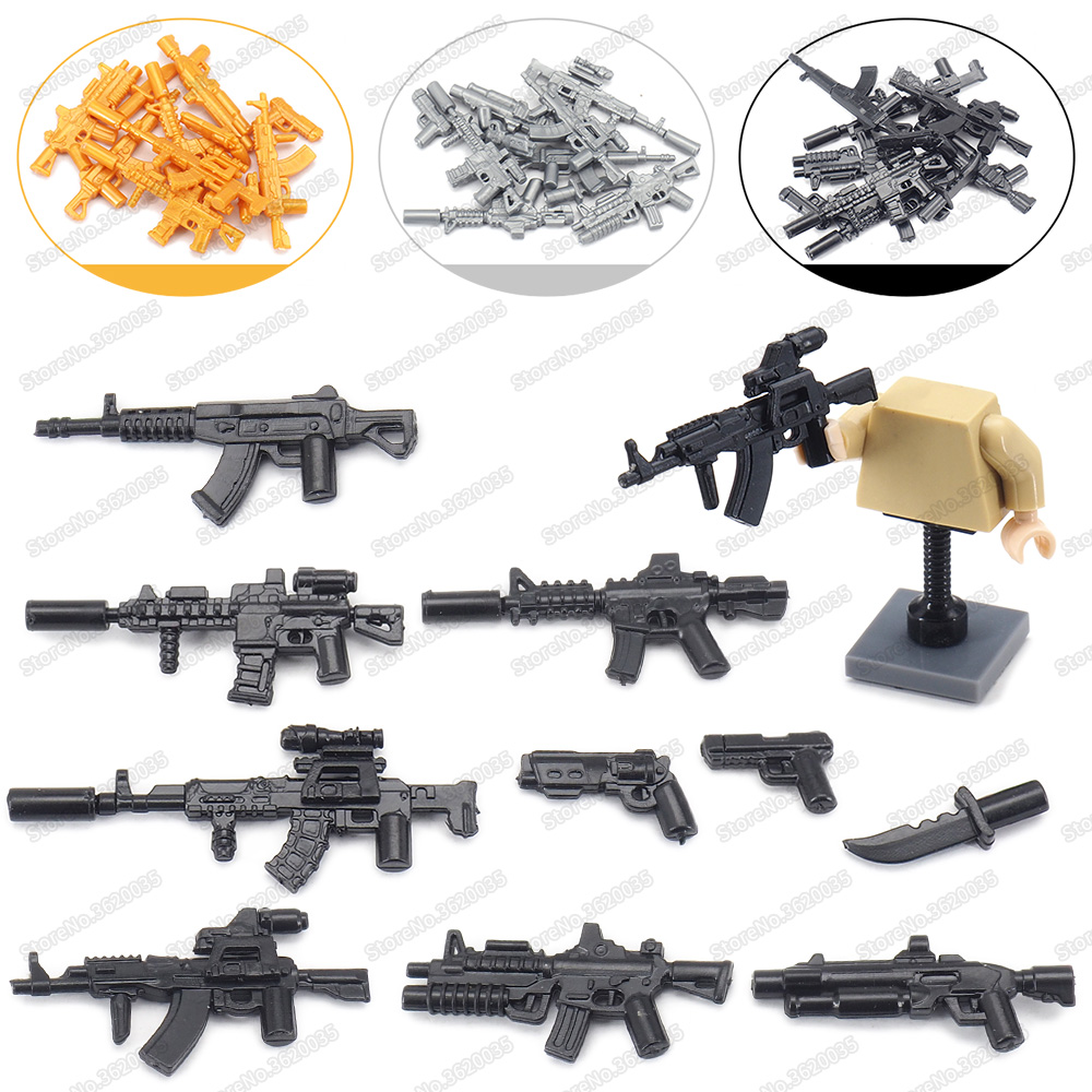 Legoinglys Army Figures Weapons Set Moc World War 2 Assemble Military Battlefield Soldier Tactics Rifle Model Give Boy Gift Toys
