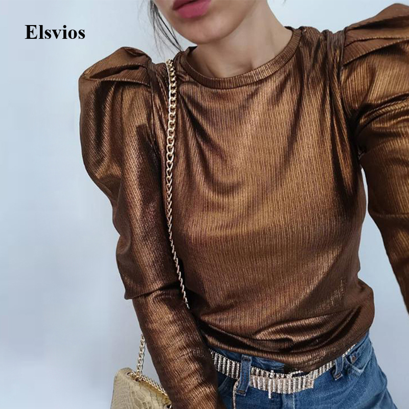 Gold Puff Long Sleeve Blouse Casual Female Spring O Neck Slim Pullover Tops Fashion Autumn Women Velvet Shirt Blouses Streetwear