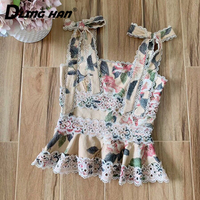 LINGHAN Fashion Embroidery Linen Tops Sexy Backless Hollow Out Camis Top Designer Spring Summer New
