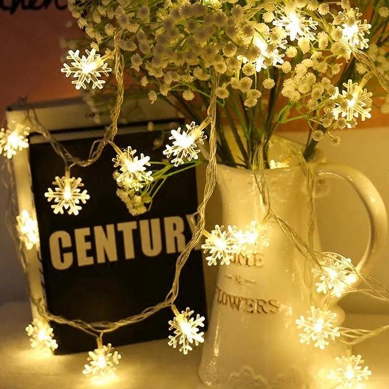 LED Snowflake String Lights Snow Fairy Garland Decoration For Christmas Tree USB Power Christmas Valentine Wedding Decor