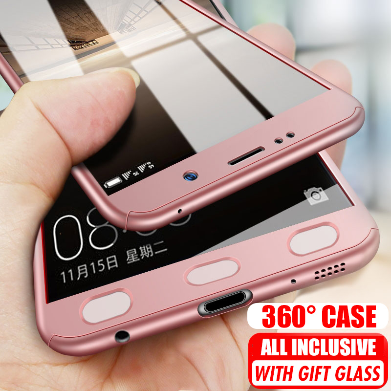 360 Degree Case for <font><b>Samsung</b></font> Galaxy A6 A7 A8 A9 Plus 2018 Hard PC Case with Glass for <font><b>Samsung</b></font> S5 S6 S7 Note 3 4 <font><b>5</b></font> A3 2016 A5 <font><b>2017</b></font> image