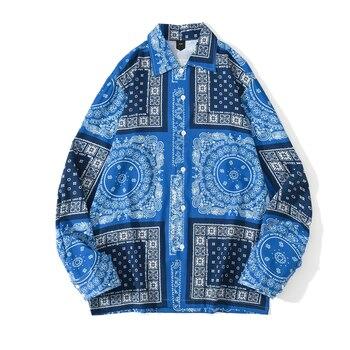 [EWQ] 2021 Spring Nw Blue Bandana Shirt  Print Retro Turn-down Collar Street Shirt Long Sleeved Casual Shirts Blouse Plus Size 1
