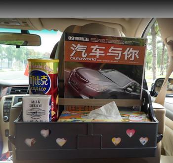 2021 nowy składany oparcie siedzenia wagon restauracyjny samochód jadalnia taca stołowa napój półka król duża tanie i dobre opinie Giachidai CN (pochodzenie) 16 5cm 35 5inch półki 0 56kg storage box 14 8inch L-1798