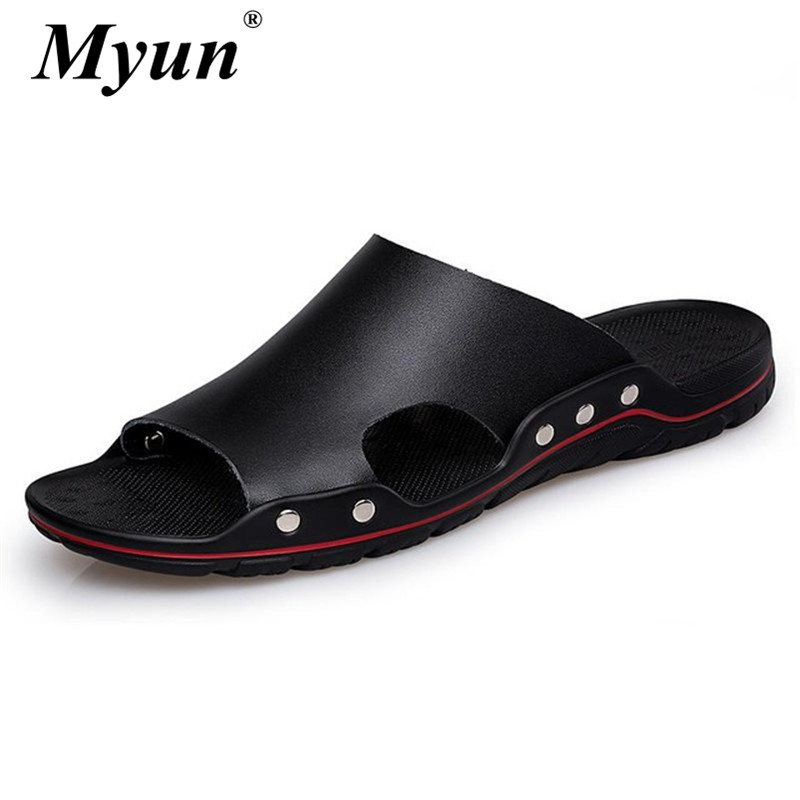 Plus Size 38-48 New Summer Men Slippers Man Flat Shoes Breathable Beach Slippers Genuine Leather Flip Flops Male Slippers