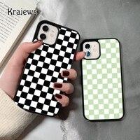 Krajews 그리드 체커 체크 보드 아이폰 12 미니 5 6S 7 8 플러스 X XS XR 11 프로 최대 SE 2020 뒷면 커버 funda에 대한 coque 전화 케이스