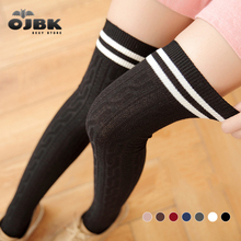Winter Autumn 100% Cotton Stripe Thigh High 7 Colors Thick Version Over Knee Cute Lolita Good Stretch Stocking Spring Fashion