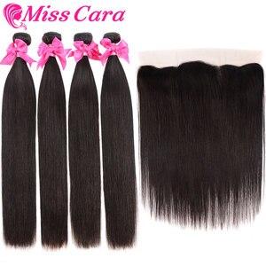 Image 4 - פרואני ישר שיער חבילות עם פרונטאלית מתגעגע קארה 100% רמי שיער טבעי 3/4 חבילות עם סגירת 13*4 חזיתי עם חבילות