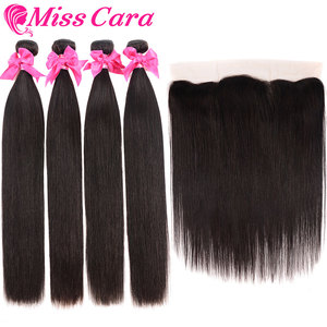 Image 4 - Peruvian Straight Hair Bundles With Frontal Miss Cara 100% Remy Human Hair 3/4 Bundles With Closure 13*4 Frontal With Bundles