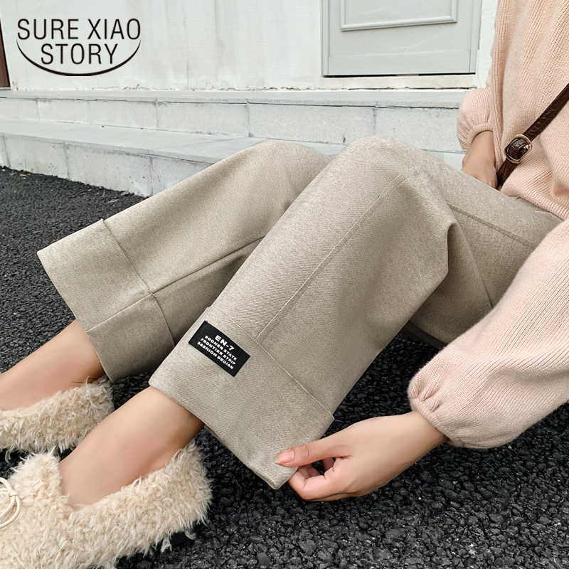 Wool   Wide     Leg     Pants   Women Autumn and Winter High Waist Straight Loose 2019 New Thick Casual Korean Ankle-length   Pants   6995 50