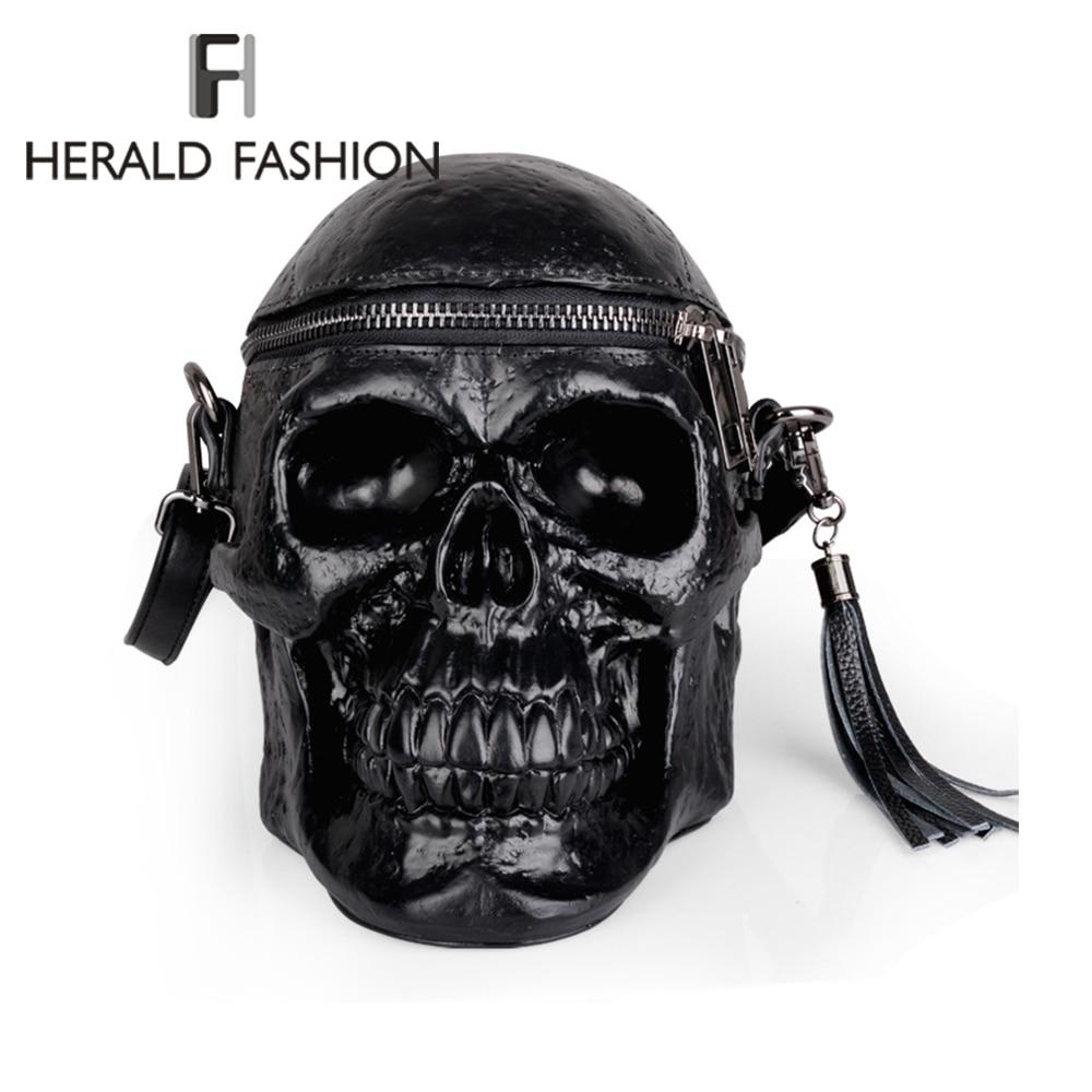 Herald mode nouveauté squelette tête sac à main hommes unique Halloween paquet gland sacoche paquet cadeaux crâne sacs 2019 nouveau