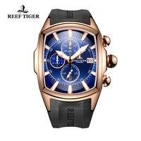 ¡Novedad de 2020! Reloj deportivo de lujo Reef Tiger/RT con esfera azul de oro rosa para hombre  relojes profesionales resistentes al agua