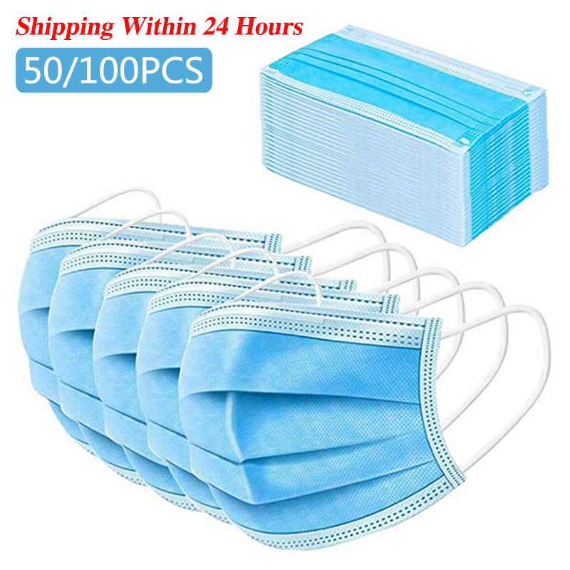 50pcs Disposable Face Mask Anti Pollution Mask Protect 3 Layers Filter Dustproof Earloop Non Woven Mouth Masks 24 Hours Shipping
