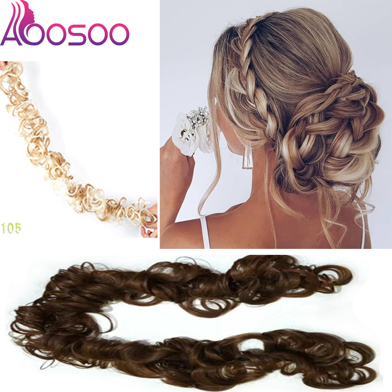 Fashion Heat Resistant Fiber Women Black Brown Rubber Band Curly Chignon UPDO Synthetic Hairpieces Bun Hair Extension