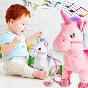 2019 Funny Toys Electric Walking Unicorn Plush Toy Stuffed Animal Toy Electronic Music Unicorn Toy for Children Christmas Gifts