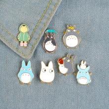 My Neighbor Comic Totoro Enamel Pins Chinchilla Brooches Cartoon Animal Bag Lapel Pin Shirt Badge Jewelry Gifts for Kids Friends