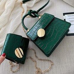 Качественные кожаные сумки через плечо с каменным узором для женщин, дизайнерские маленькие сумки на цепочке, сумка через плечо, мини-кошел...
