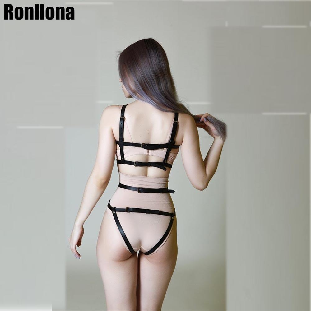 Leather Harness Underwear Set Garter Belts Sexy Women Waist To Leg Bondage Cage Straps Bra Garter Body Belts Lingerie Suspender