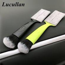 Lucullan dupla face multi-função escovas de limpeza interior ferramentas de lavagem de carro para ar condicionado painel lacuna poeira remover