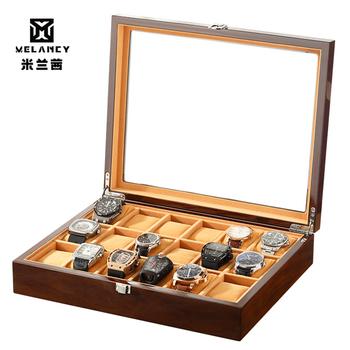 18 slotów zegarek Box drewniany zegarek na rękę mężczyźni schowek zegar gablota wystawowa wygodny zegarek organizer biżuterii tanie i dobre opinie Melancy Pudełka do zegarków Moda casual MQ1004 Plac 95inch 30inch Drewna 37inch Mieszane materiały black 1 year