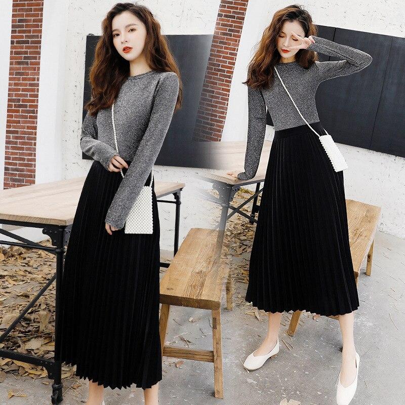 2019 Spring New Style WOMEN'S Dress Korean-style Elegant Commuting Knitted Joint Pleated Dress Slim Fit Big Hemline Dress