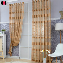 Tulle Curtain Window-Drapes Bedroom Plaid-Pattern Modern Simple Luxury for French M077C
