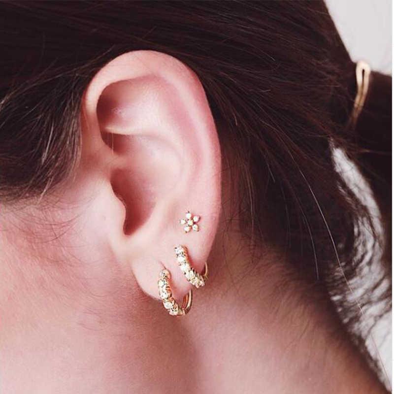ใหม่หรูหรา 2019 ต่างหูคริสตัล Zircon แถวเงินสี Huggie ต่างหูสำหรับผู้หญิง Brincos oorbellen