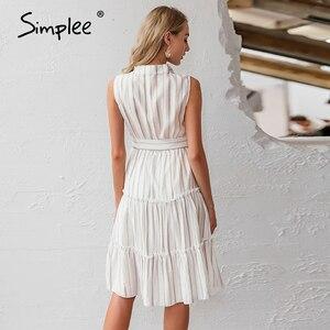 Image 4 - Простое Полосатое летнее платье для женщин, сексуальное, без рукавов, с поясом, однобортное, для пляжа, повседневное, с рюшами, свободное, макси платье
