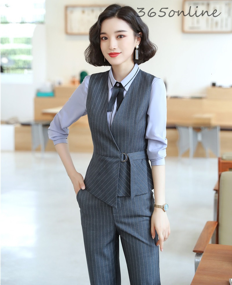 Formal Uniform Designs Pantsuits For Women Business Work Wear Professional Waistcoat & Vest Coat Ladies Office Blazers Suits