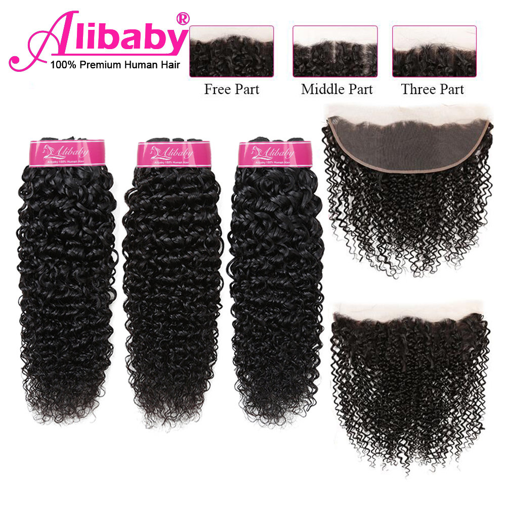 Alibaby Jerry Curl Human Hair Peruvian Bundles With Frontal Wet And Wavy Human Hair Remy Curly Bundles With Lace Frontal Closure