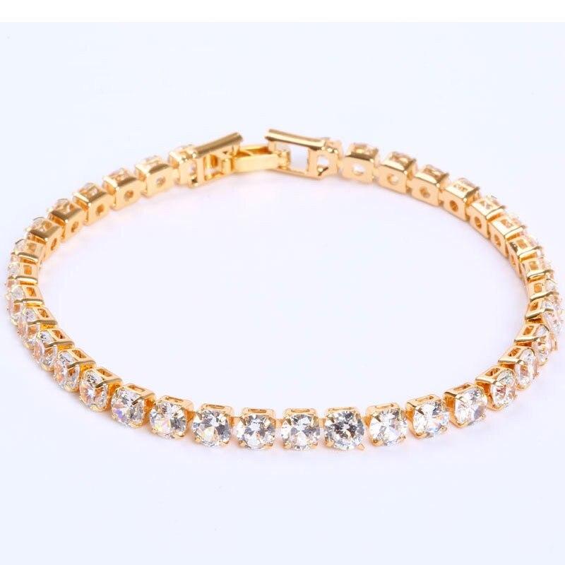 4mm Cubic Zirconia Tennis Bracelets For Women Men Iced Out Chain Silver Color Bracelet Men Zircon Armband CZ pulseras Jewelry